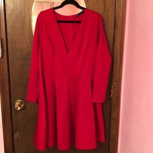 Red long sleeve cocktail dress